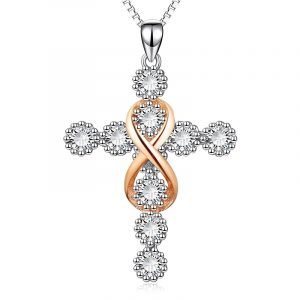 925 Sterling Silver cross pendant necklace with cubic zincon wholesale