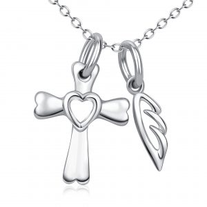 925 Sterling Silver Guardian Angel Cross and Wing Necklace simple cross necklace