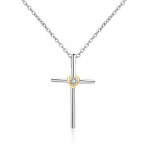 Factory Direct 925 Sterling Silver Zircon Pendant Jewelry Cross Necklace For Girlfriend