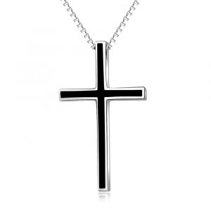 925 Sterling Silver mens cross pendant black cross necklace mens