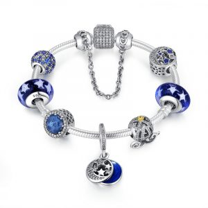Sterling silver pandora beaded bracelet with pandora style charms wholesale