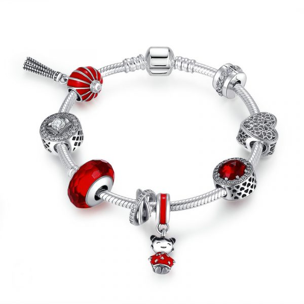 Sterling silver new pandora bracelet girls pandora bracelet with red beads