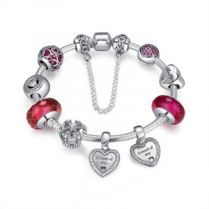 Sterling silver new double heart pandora bracelet girls pandora bracelet with red beads