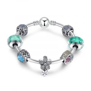 Sterling silver new pandora green beads bracelet girls pandora bracelet with flower element