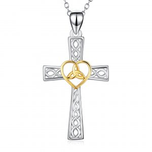 Religious Jewelry 925 Sterling Silver cross pendant Love heart Cross Pendant Necklace