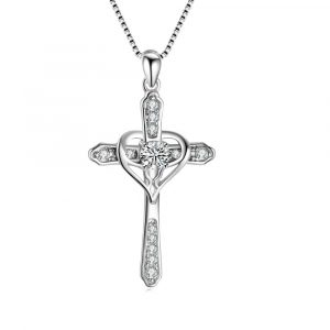 Religious Jewelry 925 Sterling Silver jesus cross necklace Love heart Cross Pendant Necklace