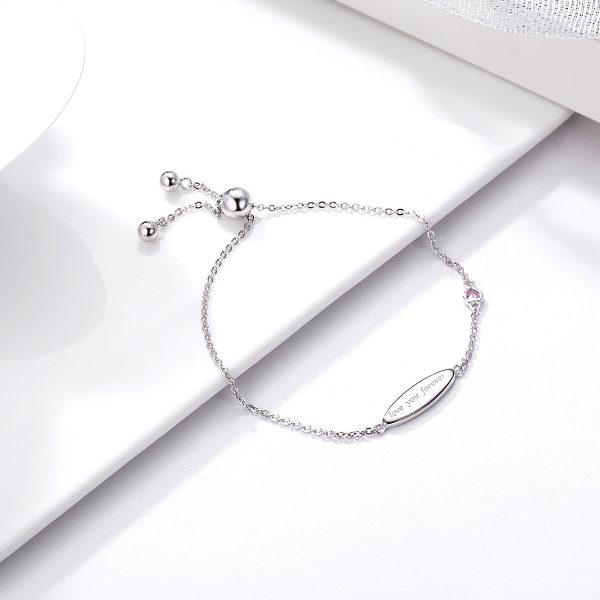 Silver id bracelet engraved bracelets for women