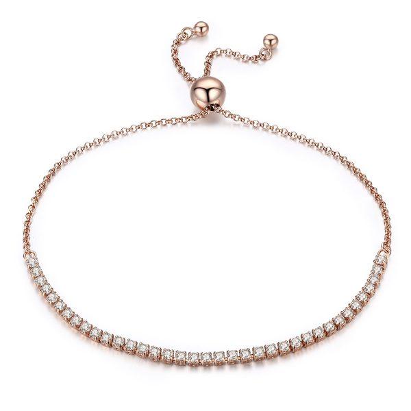 sterling silver tennis bracelet with rose gold plating color