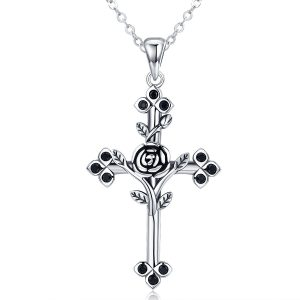Cross necklace silver cross necklace womens with flower in middle