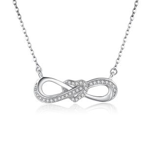 Infinity heart necklace silver personalized infinity necklace