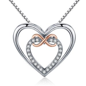 Infinity heart necklace sterling silver heart necklace