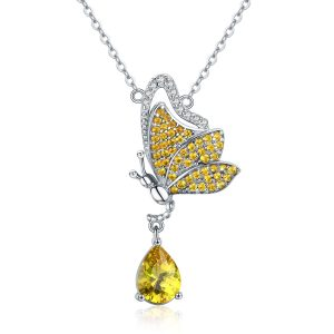 Butterfly necklace 925 silver butterfly pendant with necklace chains
