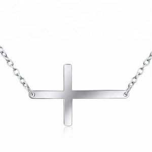 Religious Jewelry 925 Sterling Silver sideways cross necklace Pure Silver Cross Necklace