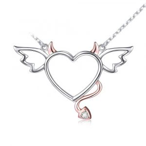 925 Sterling Silver Angel Heart Pendant Necklace for Women Girlfriend Wife