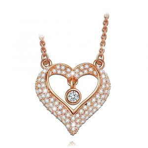 925 Sterling Silver rose gold heart necklace Adjustable Chain 16-18 inch