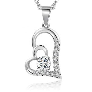 925 Sterling Silver CZ Crystal double heart necklace Women Jewelry necklaces