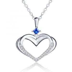 925 Sterling Silver Heart Necklaces aquamarine heart necklace for Women Girls