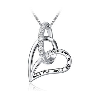925 Sterling Silver engraved heart necklace I Love You to the Moon necklaces White Cubic Zirconia