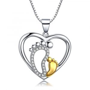 925 Sterling Silver Two-Tone Gold Foot Prints Heart Pendant Necklace for Women