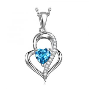 925 Sterling Silver Women Jewelry heart of the ocean necklace Blue Ocean Love Heart