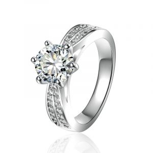 Bulk Wholesale Genuine Sterling Silver Engagement Rings With Cubic Zirconia