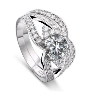 Cheap Wholesale 925 Sterling Silver Cluster CZ Diamond Split Shank Womens Wedding Ring Sets