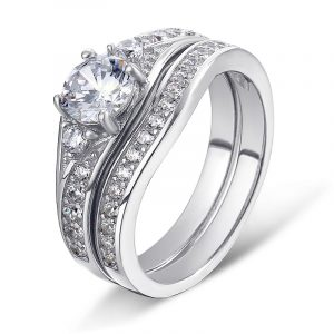 Cheap Wholesale 925 Sterling Silver Custom CZ Diamond bridal Wedding Ring Sets