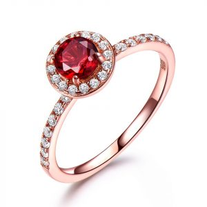 China Jewelry Wholesale 925 Sterling Silver CZ Engagement Rings With Rose Gold Plating