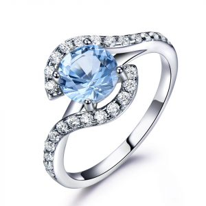 China Jewelry Wholesale 925 Sterling Silver Cubic Zirconia Wedding Rings Lady Engagement Rings