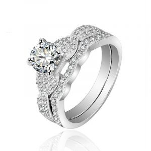 Customize 925 Sterling Silver Double Row Engagement Wedding Ring Sets For Bridal