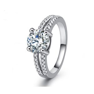 Direct Jewelry Manufacturer Sterling Silver Wedding Rings With Pave Setting Engagement Rings For Women