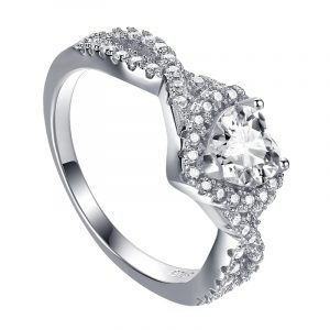 Directly Factory Wholesale Genuine 925 Sterling Silver Cubic Zirconia Heart Ring With Rhodium Plating