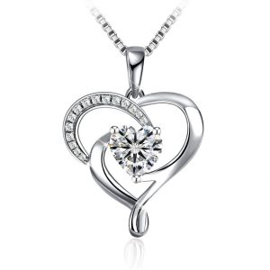 Fashion Jewelry 925 Sterling Silver heart necklace for girlfriend