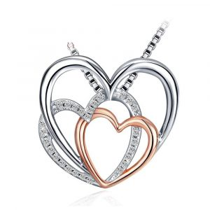 Fashion Jewelry 925 Sterling Silver double heart necklace Pendant Necklace for Women