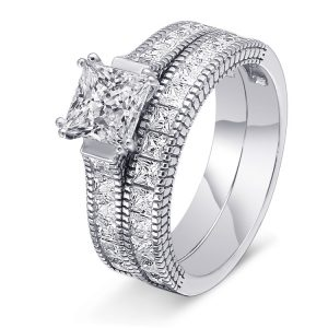 Fashion Princess Cut Simulate Diamond 925 Sterling Silver Half Eternity Bridal Ring Set For Wedding Party