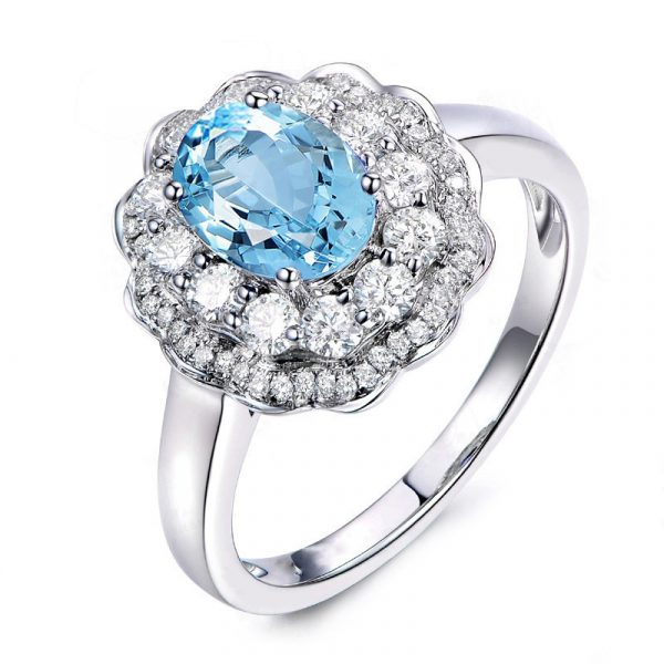 Fashion Silver Engagement Rings For Women With Topaz Blue Color Cubic Zirconia