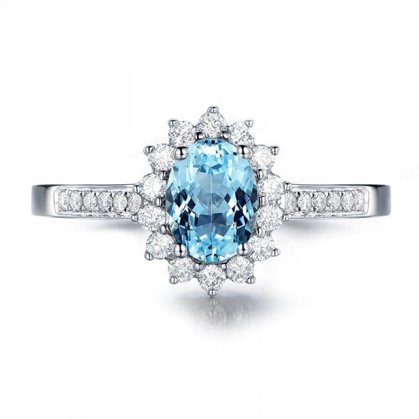 Fashion Sterling Wedding Band For Women With Topaz Blue Color Cubic Zirconia
