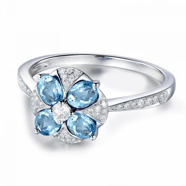 Fashion Topaz Blue And Silver Wedding Bands Sterling Silver Rings For Sale