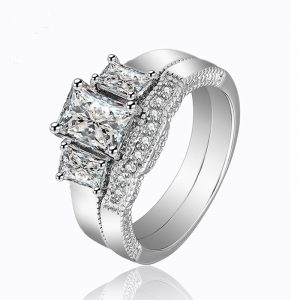 Guangzhou Factory 925 Sterling Silver 5A CZ three Stone Engagement Wedding Ring Sets