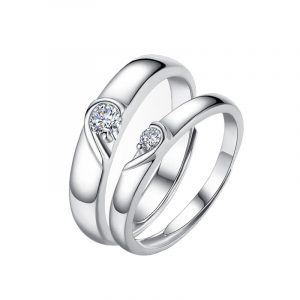 High Quality 925 Sterling Silver Platinum Colour Couple Band Rings
