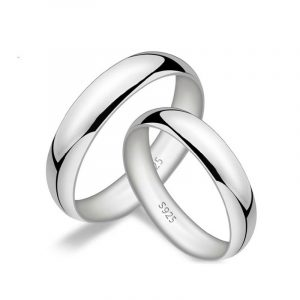 High Quality 925 Sterling Silver Platinum Colour Couple Bands