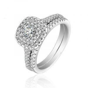 High Quality 925 Sterling Silver Platinum Colour Wedding Ring Sets