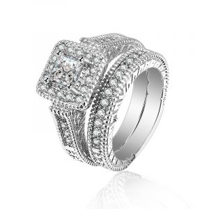 High Quality 925 Sterling Silver Sapphire Blue CZ stacking Two-Piece Bridal Ring Wedding Ring Sets