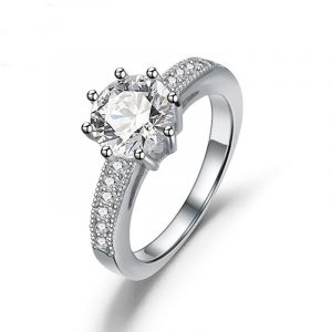 High Quality Genuine 925 Sterling Silver With Pave Setting 925 Stamped Lady Engagement Rings