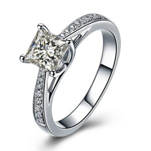 High Quality Large Stone 925 Stamped Sterling Silver Wedding Rings For Women Wholesale