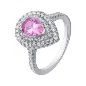 Highly Polish Sterling Silver CZ Engagement Rings Pink Cubic Zirconia Ring For Women