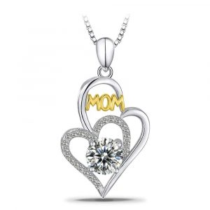 I Love You Mom S925 Sterling Silver Heart Pendant Necklace Mother's Birthday Gift