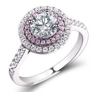 Jewelry Wholesale Of Multi Color Micro Pave Setting Sterling Silver CZ Engagement Rings For Girls