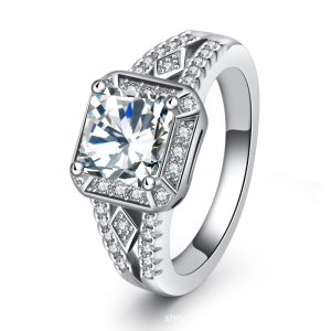 Latest Design Wholesale Jewelry Sterling Silver Halo Engagement Rings Wedding Ring For Women