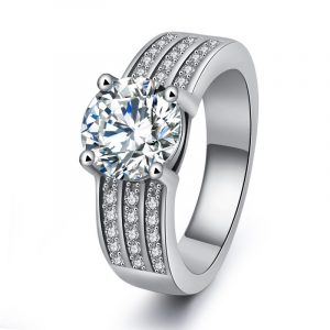 Luxury Women's Engagement Rings Sterling Silver Cubic Zirconia Wedding Rings With 925 Stamped